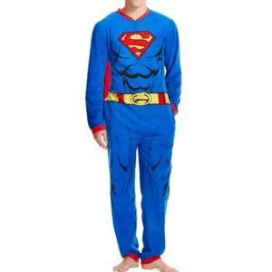Superman Fleece Onesie Pajama w/Cape-Mens L 36-38